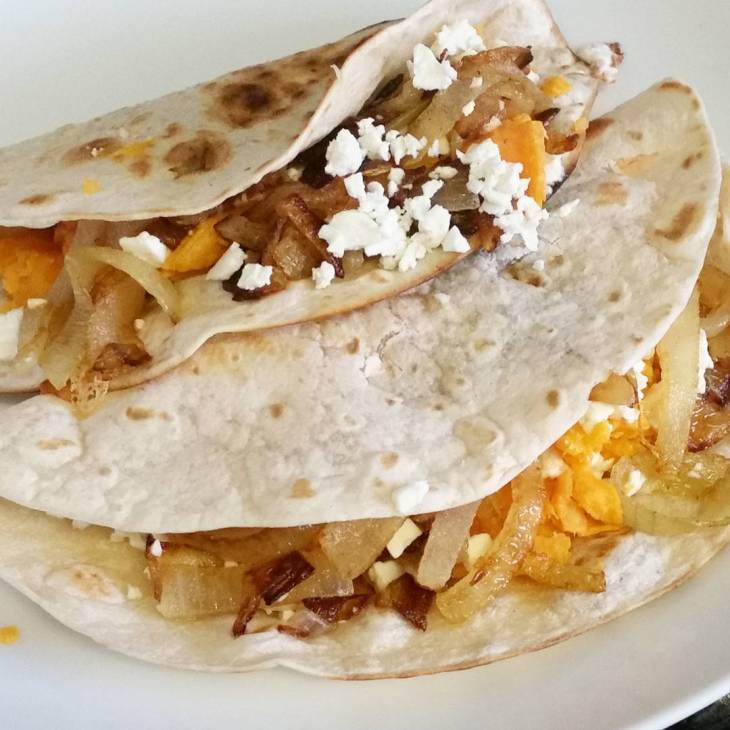 sweet potatoes and feta quesadillas recipe