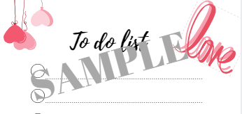 Sample to do list love and hearts