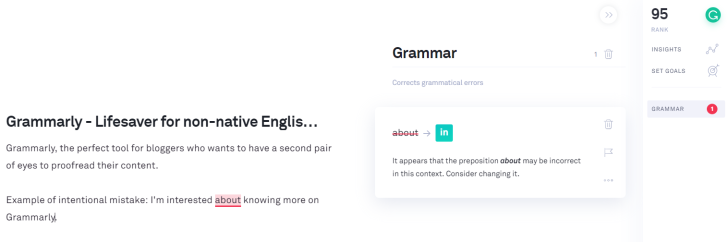Grammarly - lifesaver of non-native English speakers - example