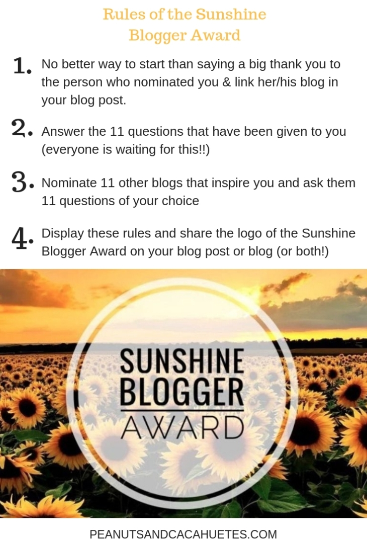 Nominated for the Sunshine Blogger award - the rules