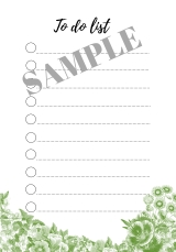 FREE printable to-do list green flowers -freebie